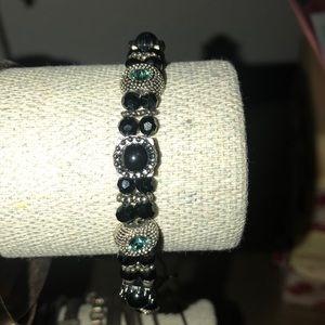 Beaded Bracelet with Emerald Rhinestones